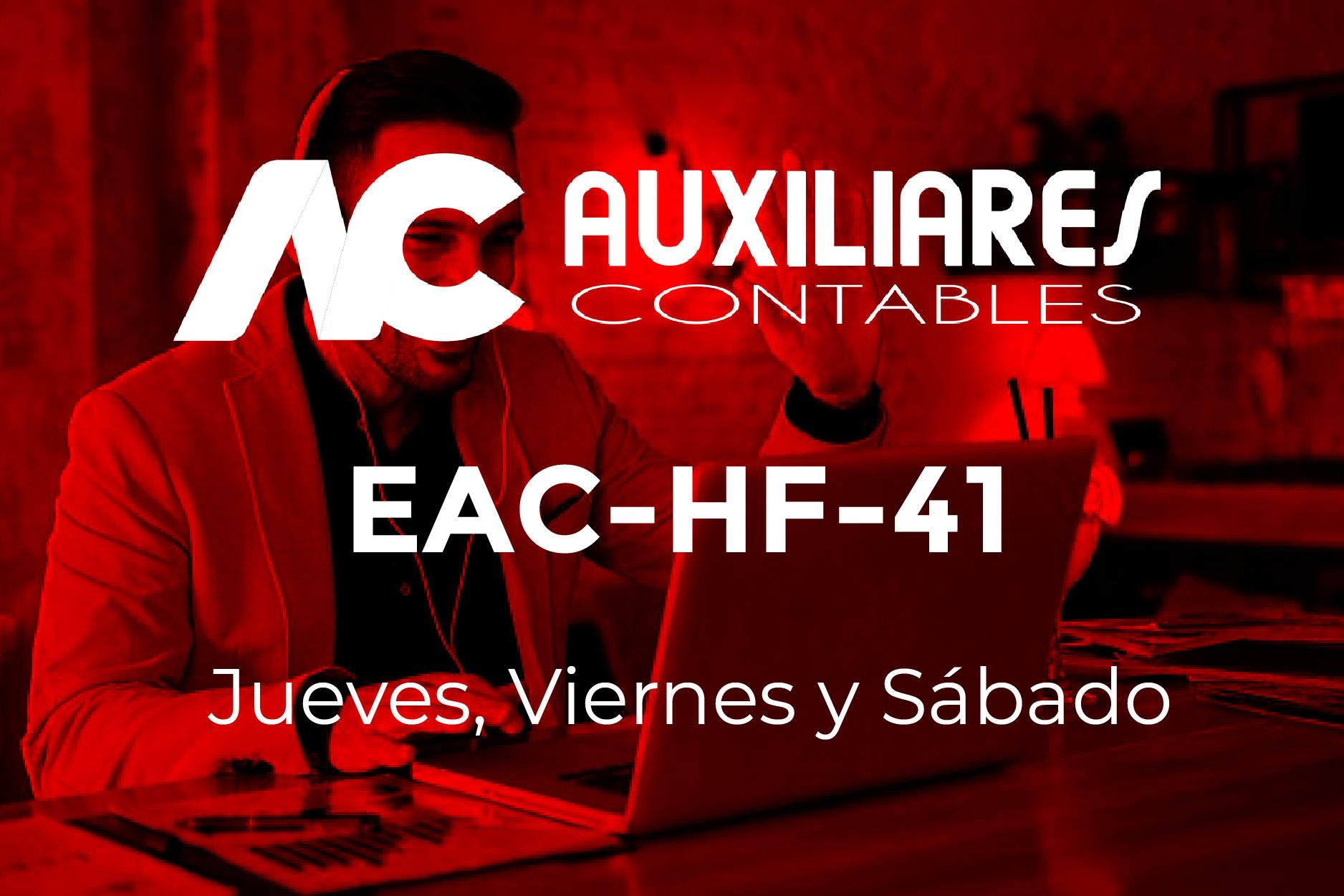 41 - AUXILIARES CONTABLES - JUEVES, VIERNES y SÁBADO